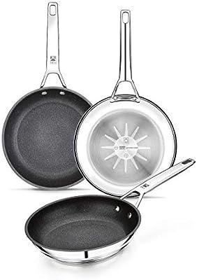 BRA Connect Set de sartenes acero inoxidable con antiadherente Profile y tecnología Bi-Clad, apta para todo tipo de cocinas incluida inducción, libre de PFOA,20-24-26 cm, Aluminio Fundido, Plata: Amazon.es: Hogar