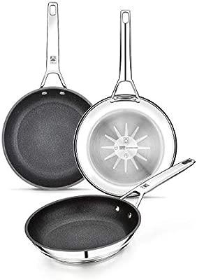 BRA Connect - Set de sartenes 20-24-26 cm, aluminio fundido con antiadherente Profile y tecnología Bi-Clad, apta para todo tipo de cocinas incluida ...