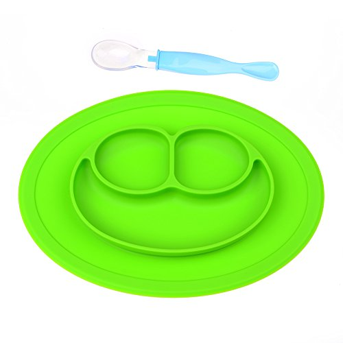 Price comparison product image 3 Compartment Non Slip Portable Highchair Feeding Tray, Baby Silicone Placemat with Spoon