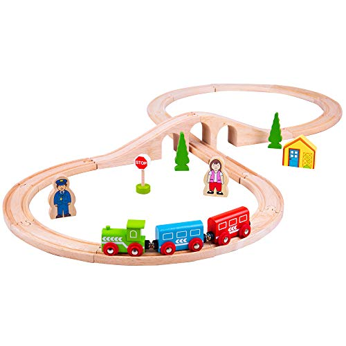 (Bigjigs Rail Wooden Figure of Eight Train Play Set with Accessories)