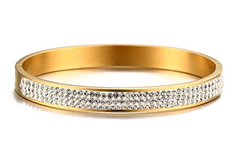 (PJ Jewelry Gold Plated Stainless Steel Rhinestone Crystal Pave Eternity Hinged Bangle Bracelets)