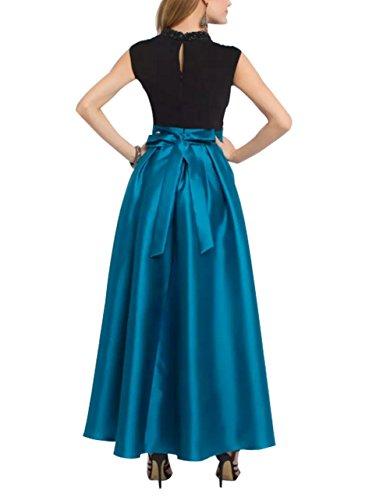 Ceinture Femme CoutureBridal pour Haute avec Elgante Jupe Soire Jupe Longue Une Vintage Bleu Haille Satin H7Aa7qw