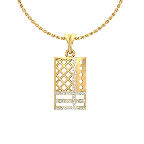 Or jaune 14 K 0.25 CT TW Round-cut-diamond (IJ | SI) diamant Pendentif