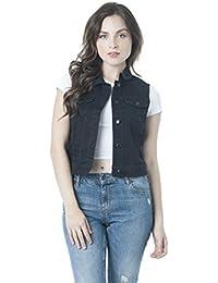Sleeveless Button up Jean Denim Jacket Vest