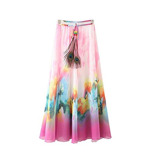 Kaxuyiiy De las mujeres flor de loto bohemio playa pluma de pavo real fiesta partido maxi largo Falda plisada Pintura de la rosa roja