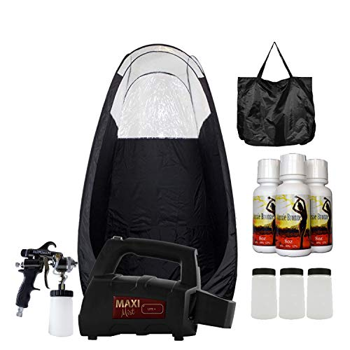 Maxi-Mist Lite Plus Pro HVLP Sunless Spray Tanning KIT Tent, Machine and Sunless Solution (Black)