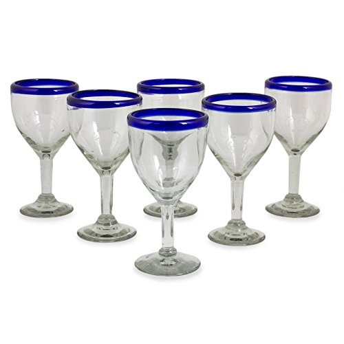 - NOVICA Hand Blown Clear Blue Recycled Glass Wine Goblets, 10 oz 'Blue Can-Cun' (set of 6)