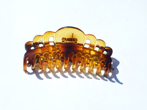 Lucite Clip - Extra Large Size Claw Clip Updo Ponytail Hair Holder Large Hair Clamps French Roll Hair Clips (Transparent Lucite Tort Brown fancy- THO276) 5