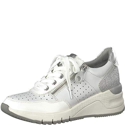 Leather White 22 Calzado 1 zapato Cordones Con 1 Deportivo Tamaris 23727 Mujer OqPxvwaUga