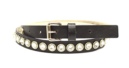 STREETS AHEAD Womens Crystal Bezel Skinny Leather Belt Sz M Charcoal/Black 230709E (Streets Ahead Belt Skinny)