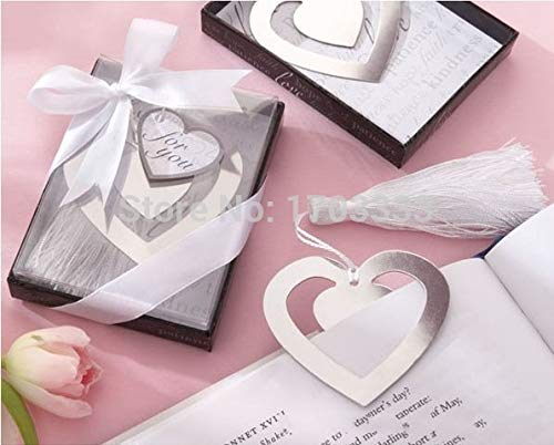 Bookmark Heart - 300pc Home Party Favor Gift Box Hollowed Heart Bookmark With White Tassel Christening Wedding - Chocolate Favour Hawaiian Wedding Anniversary Favours Gift Baby For Box ()