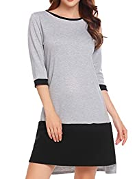 Meaneor Women's Color Block Patchwork 3/4 Sleeve Shift Dress with Pockets,S-XXL
