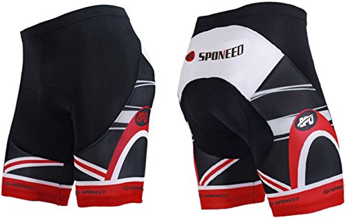 (sponeed Biking Shorts for Men Gel Padded Tights Biker Bicycle Pants No Pocket Cyclist Bottoms Asia XL/US L Red Multi)