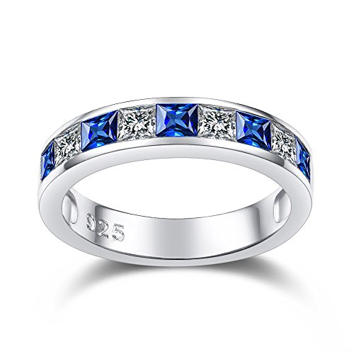 Blue Sapphire Wedding Band Sterling Silver Rings for Women 925 Eternity...