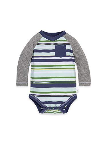 Burt's Bees Baby Baby Boys Short Long Sleeve One-Piece Bodysuits, 100% Organic Cotton, Indigo Vintage Stripe, 24 Months