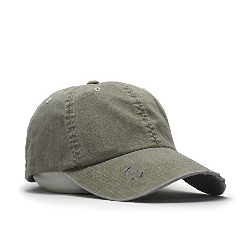 Distressed Dirty Wash Herringbone Cotton Adjustable Baseball Cap (Khaki)