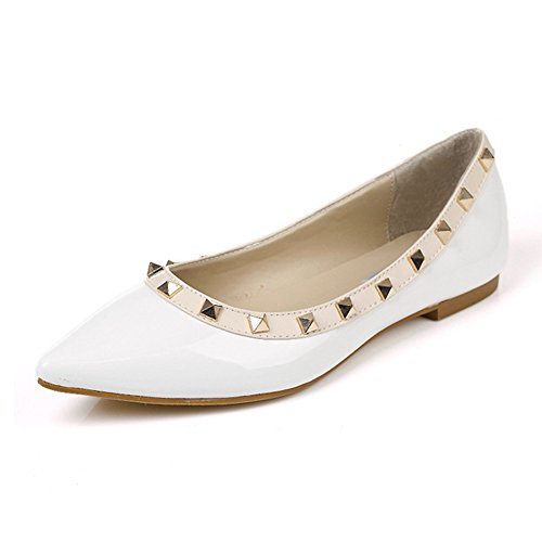 Ballerina Studded Flat - MAIERNISI JESSI Women's Pointed Toe Rivets Studded Ballet Flats Shoes White 39 - US 8