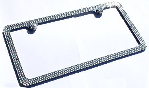 Hotblings 3 Row FULL CLEAR CRYSTAL Bling Sparkle Covered Metal License Plate Frame made w/SWAROVSKI Elements & 2 Caps -  SW3R-01-2c