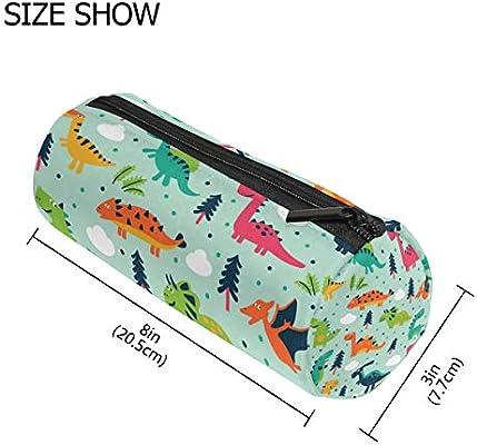 Estuche con forma de cilindro para lápices con diseño de nube de dibujos animados y dinosaurios, bolsa de papelería con cremallera para maquillaje: Amazon.es: Oficina y papelería