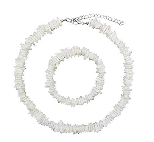 Women White Conch Clam Chips puka Shell Necklace Collar Choker with Extended Chain for Girls Men's Women Boys Native Rose Hawaiian Beach Ajustable Necklace (Necklace + Bracelet 16