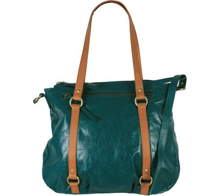 Latico Leather 7935EMTN Buffy Mimi Crossbody Tote Bag - Emerald & Tan