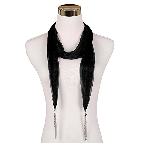 LERDU Gift Idea Lovely Plain Skinny Scarf Necklace for Women Fashion Long Pendant jewelry Accessories Ladies Black (Belt Scarf Headband)