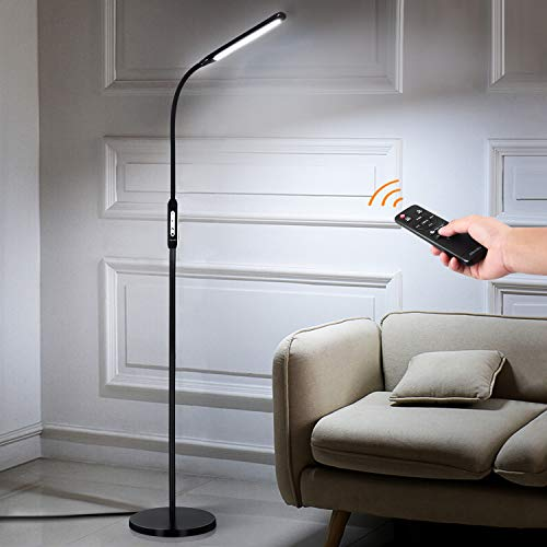 Albrillo Dimmable LED Floor Lamp with Remote Control and Timer, 1800lm Standing Light for Living Room Bedroom Office, 2-in-1 LED Reading Lamp, Black