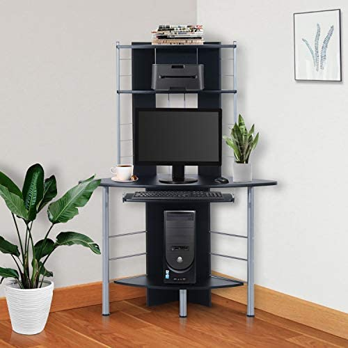 HomCom 62″ Computer Desk Arch Tower Compact Modern Corner Workstation P2 MDF