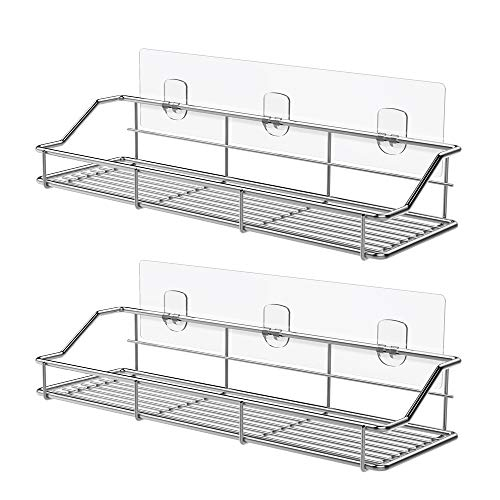 ODesign Adhesive Bathroom Shelf Organizer Shower Caddy Kitchen Spice Rack Wall Mounted - Mirrors With Shelf Bathroom Corner