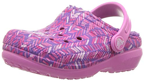 Crocs Classic Lined Graphic Clog-K, Party Pink/Amethyst 1 M US Little Kid (Kids Clogs Crocs)
