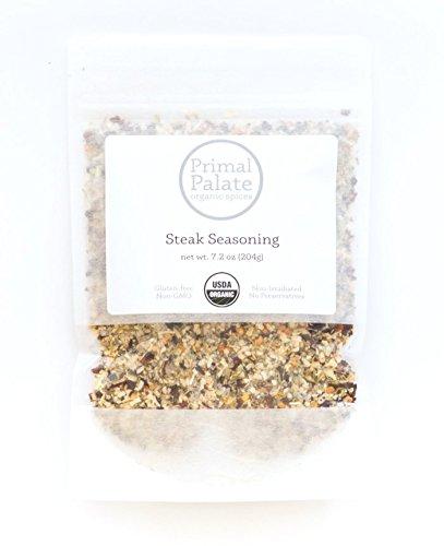 Primal Palate Organic Spices, Steak Seasoning, Certified Organic, 7.2 oz resealable bag