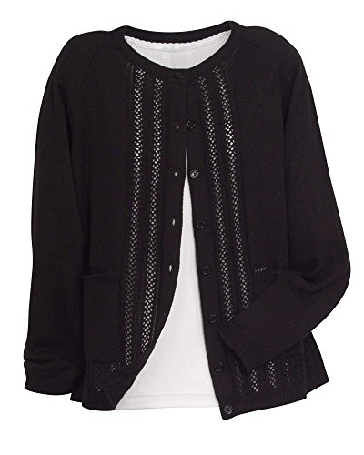 National Classic Cardigan Sweater, Black, Petite - Misses Acrylic Sweater