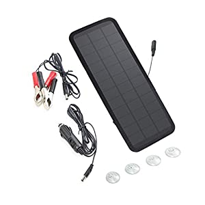 SOLKA 18V 5W/7.5W Portable Solar Panel Battery Charger Solar Charger Maintainer for Automobile, Motorcycle, Tractor…