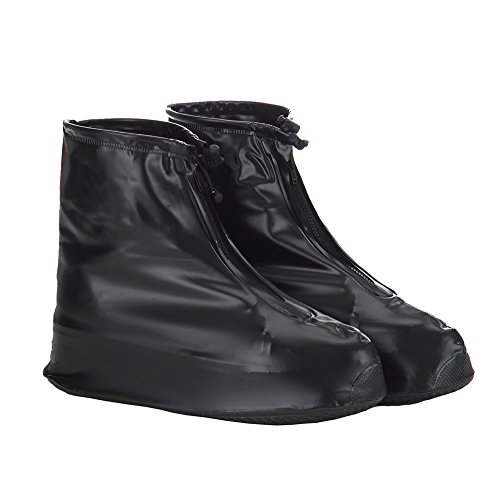 Whose Lemon Women Men Waterproof Shoes Cover Reusable Shoes Covers Rain/Snow Protective Zippered High Elastic Fabric Thicken Sole Slip-resistant Wear-resistant Shoes Covers Black XXL
