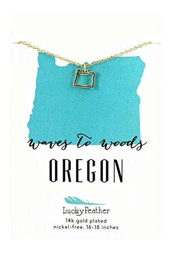 """Lucky Feather State Necklace, 14k Gold Dipped, 16-18"""" (Oregon)"""