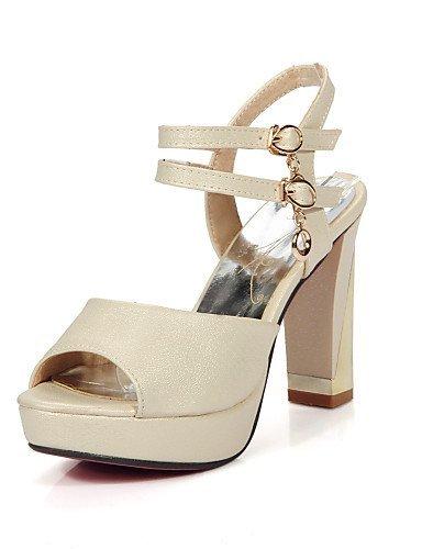 ShangYi Womens Shoes Chunky Heel Peep Toe / Open Toe Sandals Dress Black / Pink / White / Beige Pink