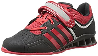 adidas Performance Adipower Weightlifting Trainer Shoe,Black/Light Scarlet/Tech Grey,3.5 M US