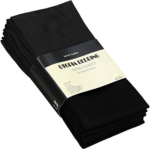 Cotton Dinner Napkins Black - 12 Pack (18 inches x18 inches) Soft and Comfortable - Expertly Tailored Edges -
