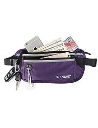 ENKNIGHT Big RFID Waist Pack for Travel Running Fanny Pack for Men & Women Money Belt Phone Pocket Hidden Fanny Belt For Keys Cashes ID Card Ticket Purple