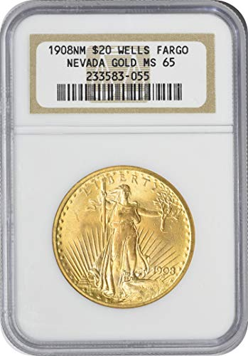 - 1908 St. Gaudens Gold No Motto $20 MS65 NGC
