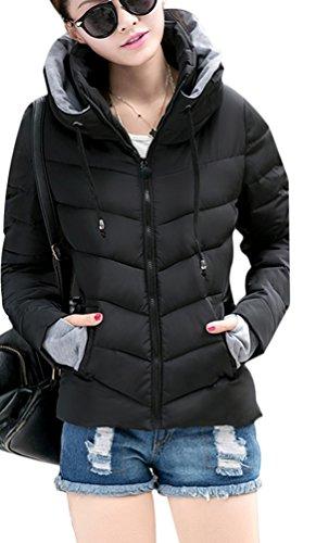Manteau Femme en Ghope Courte coton pais matelasse mit Veste capuche Noir Chaud handschuhen Parka qd8dgzpn