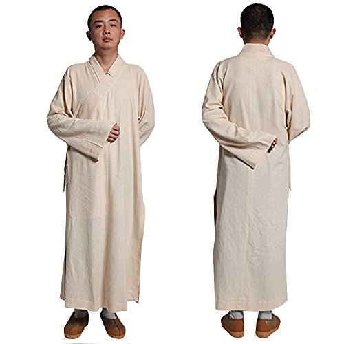 ZooBoo Buddhist Shaolin Temple Monk Robe Cotton Linen Long Robes Gown Kung Fu Uniforms Martial Arts Clothings for Men Women (Beige, 44)