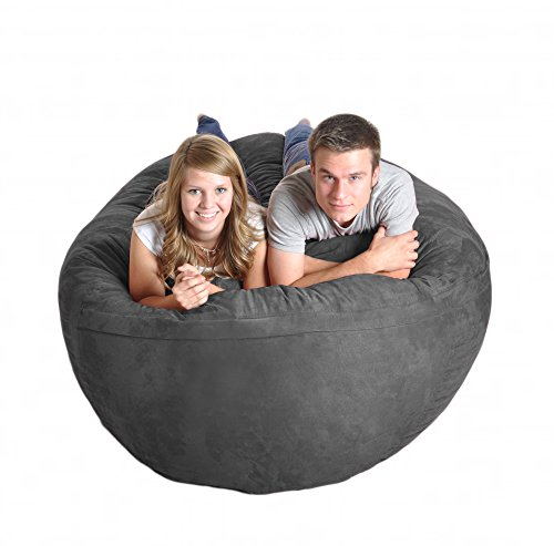 SLACKER sack 6-Feet Extra Large Foam Microsuede Beanbag Lounger, Charcoal