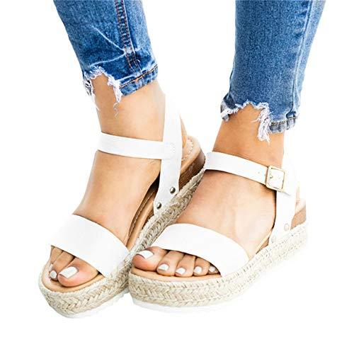 Mafulus Womens Espadrilles Platform Sandals Wedge Ankle Strap Studded Open Toe Summer Sandals