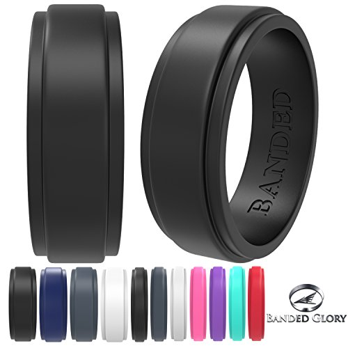 Banded Glory Silicone Wedding Ring | Wedding Bands for Men & Women - Skin Safe, Soft, Rubber Rings 5.5mm & 8.7mm...