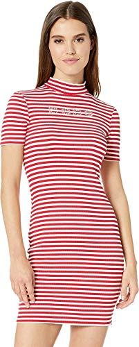 bebe Women's Short Sleeve, Mock Neck Striped Logo Dress with V-Back Detail Red/White Large (Knit Dress Bebe)