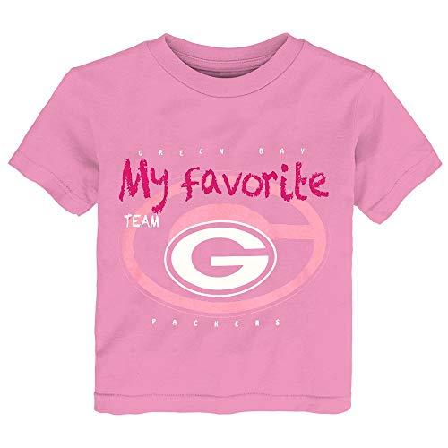 Outerstuff Green Bay Packers NFL Little Girls Pink Pink Favorite Team T-Shirt