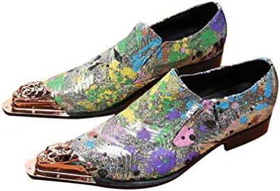 メンズレザーチェルシーブーツ、ポインテッドトゥ西部カウボーイアンクルブーツ、パーティー、イブニングオックスフォードエレベーターの靴ブーツのサイズを秋