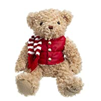 """FAO Schwarz 12"""" Classic Plush Teddy Bear, Light Brown with Red Puffer Vest & Striped Knit Scarf"""