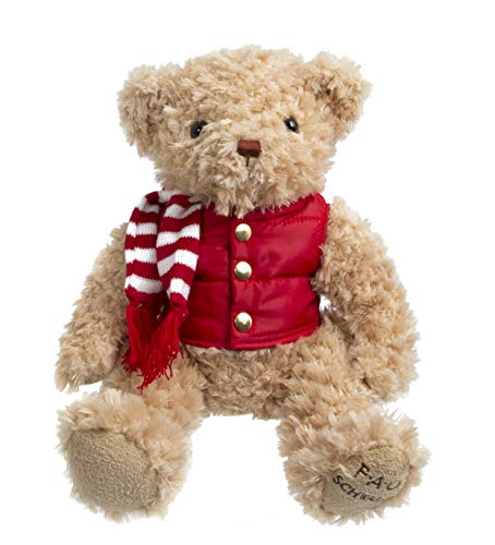"FAO SCHWARZ 12"" Classic Teddy Bear in Light Brown with Red Puffer Jacket Vest and Striped Knit Scarf, Ultra Safe, Soft and Snuggly Doll for Kids"